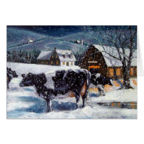 COWS: CHRISTMAS: SNOW: ART: HOLSTEIN CARD