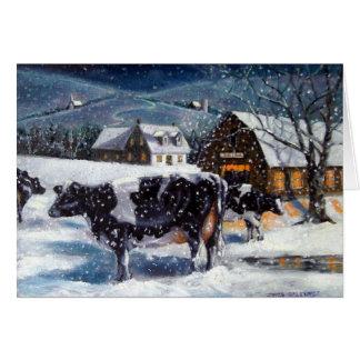 COWS: CHRISTMAS: SNOW: ART: HOLSTEIN CARD
