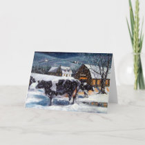 COWS: CHRISTMAS: SNOW: ART: HOLSTEIN HOLIDAY CARD