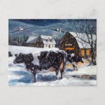 COWS: CHRISTMAS: SNOW: ART: HOLSTEIN HOLIDAY POSTCARD