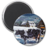 COWS: CHRISTMAS: SNOW: ART: HOLTEIN 2 INCH ROUND MAGNET