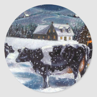COWS: CHRISTMAS: SNOW: ART: HOLTEIN CLASSIC ROUND STICKER