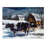 COWS: CHRISTMAS: SNOW: ART: HOLTEIN POST CARD