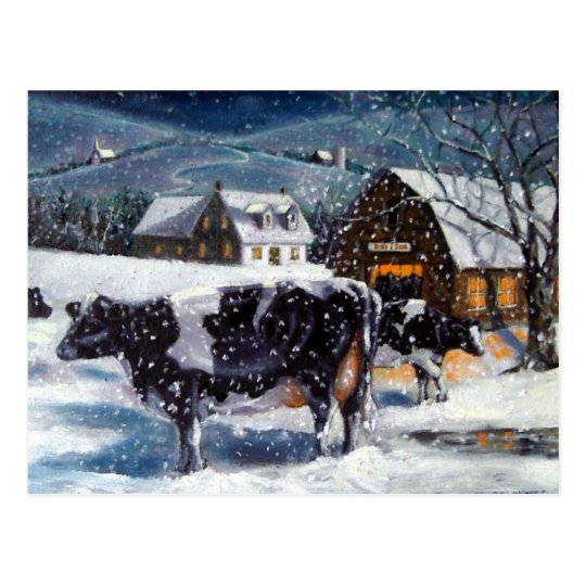 COWS: CHRISTMAS: SNOW: ART: HOLTEIN POSTCARD