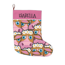 COWS CHRISTMAS STOCKING. MANY PINK COWS LARGE CHRISTMAS STOCKING