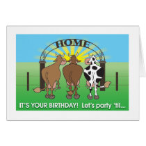 Cows coming home humorous birthday card