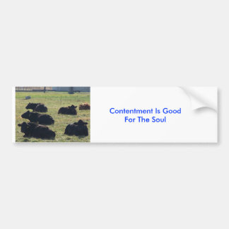 Cows, Contentment Is Good For The Soul Car Bumper Sticker