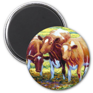Cows Dairy Cow in Pasture Field Painting Picture 2 Inch Round Magnet