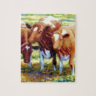 Cows Dairy Cow in Pasture Field Painting Picture Puzzle