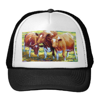 Cows Dairy Cow in Pasture Field Painting Picture Trucker Hat
