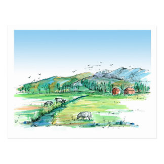 Cows Farm Animal Red Barn Country Landscape Postcard