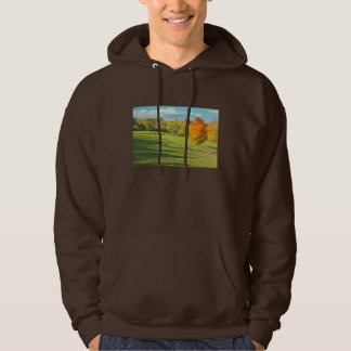 Cows Grazing  In Colorful Fall Farm Field Maine Hoodie