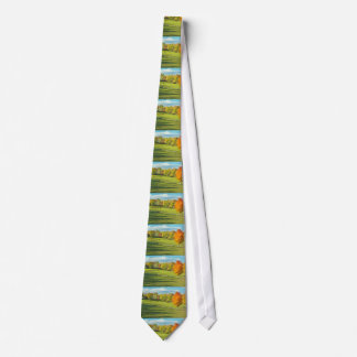 Cows Grazing  In Colorful Fall Farm Field Maine Neck Tie