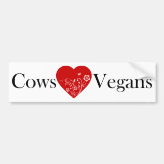 Cows Heart Vegans Bumper Sticker