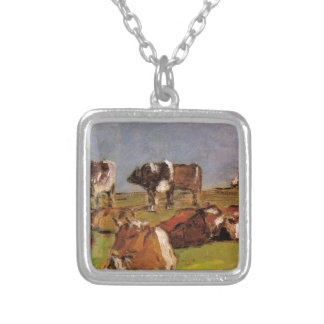 Cows in a Field by Eugene Boudin Silver Plated Necklace