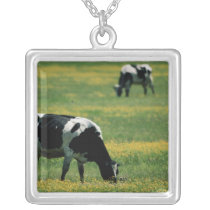 Cows in a Field of Flowers Silver Plated Necklace
