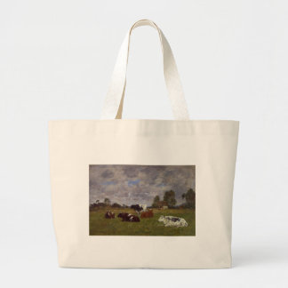 Cows in a Pasture by Eugene Boudin Large Tote Bag