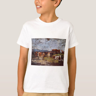 Cows in a Pasture by Eugene Boudin T-Shirt