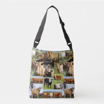 Cows In A  Photo Collage, Crossbody Bag