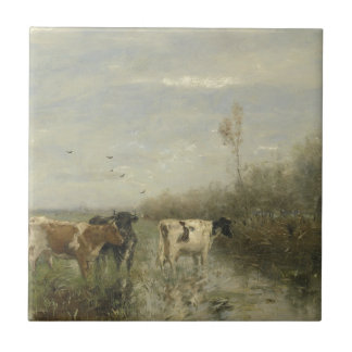 Cows in a Soggy Meadow Ceramic Tile