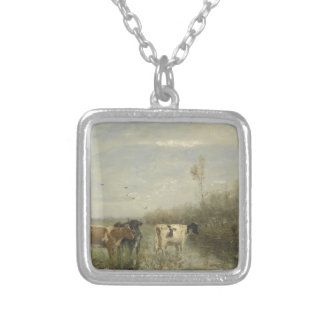 Cows in a Soggy Meadow Square Pendant Necklace