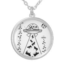 Cows in a UFO spaceship Silver Plated Necklace