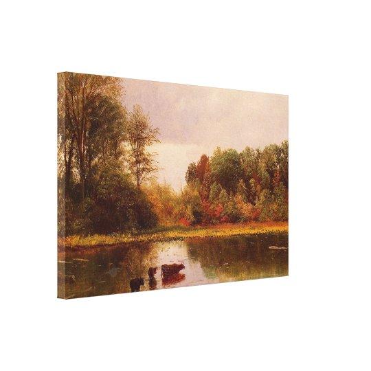Cows In A Watering Landscape Albert Bierstadt Canvas Print