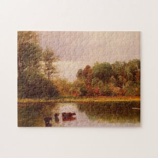 Cows In A Watering Landscape Albert Bierstadt Jigsaw Puzzle