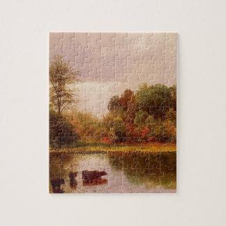 Cows in a Watering Landscape, Albert Bierstadt Jigsaw Puzzle