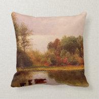 Cows In A Watering Landscape Albert Bierstadt Throw Pillow