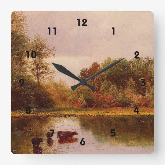 Cows in a Watering Landscape, Albert Bierstadt Square Wall Clock