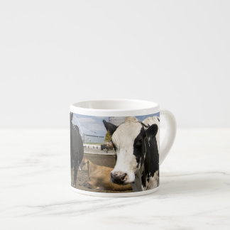 Cows in front of a red barn and silo on a farm 2 espresso cup