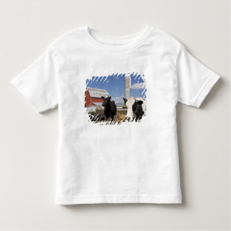Cows in front of a red barn and silo on a farm 2 toddler t-shirt