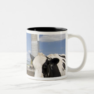 Cows in front of a red barn and silo on a farm 2 Two-Tone coffee mug