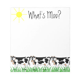 Cows In Grass with Whats Moo? Notepad