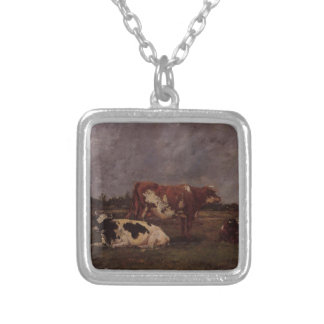 Cows in Pasture by Eugene Boudin Square Pendant Necklace