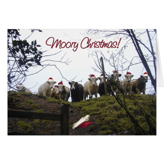 Cows in Santa Hats Christmas Party Invitation. Card