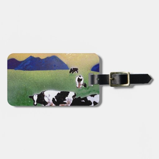 cows in summer mist tags for luggage