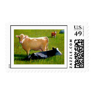 COWS IN SUMMER PASTURE STAMP
