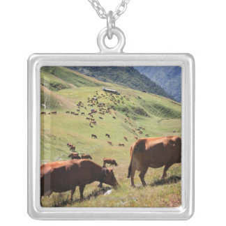 cows in Tarentaise Valley - Tarine race Square Pendant Necklace