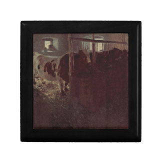 Cows in the barn by Gustav Klimt Keepsake Box