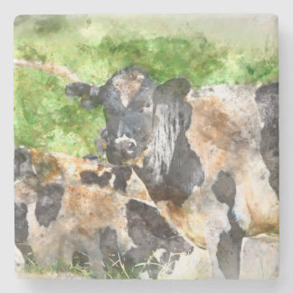 Cows in the Field Stone Coaster