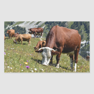 Cows in the French Alps Rectangular Sticker