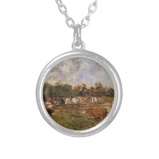 Cows in the Meadow by Eugene Boudin Round Pendant Necklace