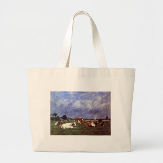 Cows in the Pasture by Eugene Boudin Large Tote Bag