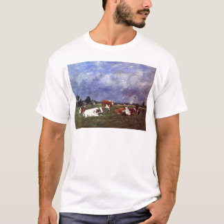 Cows in the Pasture by Eugene Boudin T-Shirt