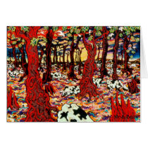"""Cows In The Woods At Christmas Time,"" Nina Beall Card"