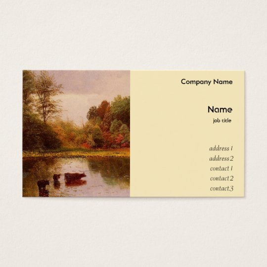 Cows in Watering Landscape, Albert Bierstadt Business Card