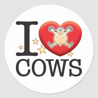 Cows Love Man Classic Round Sticker