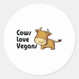 cows love vegans classic round sticker